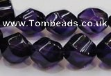 CSA11 15.5 inches 12*15mm twisted rice synthetic amethyst beads