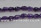 CSA24 15.5 inches 6*8mm faceted teardrop synthetic amethyst beads