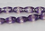 CSA25 15.5 inches 7*12mm faceted rice synthetic amethyst beads