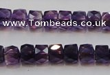 CSA26 15.5 inches 7*10mm faceted column synthetic amethyst beads