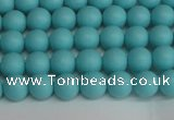 CSB1405 15.5 inches 4mm matte round shell pearl beads wholesale
