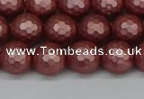 CSB1862 15.5 inches 8mm faceetd round matte shell pearl beads