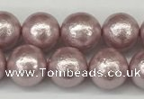 CSB2242 15.5 inches 8mm round wrinkled shell pearl beads wholesale