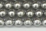 CSB2300 15.5 inches 4mm round wrinkled shell pearl beads wholesale