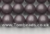 CSB2440 15.5 inches 4mm round matte wrinkled shell pearl beads