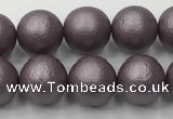 CSB2442 15.5 inches 8mm round matte wrinkled shell pearl beads