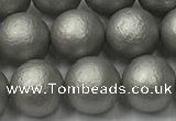 CSB2493 15.5 inches 10mm round matte wrinkled shell pearl beads