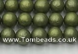 CSB2520 15.5 inches 4mm round matte wrinkled shell pearl beads