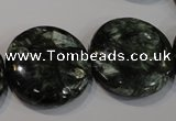 CSH127 15.5 inches 25mm flat round natural seraphinite gemstone beads