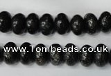 CSI68 15.5 inches 6*10mm rondelle silver scale stone beads wholesale