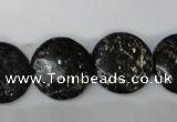 CSI87 15.5 inches 20mm flat round silver scale stone beads wholesale