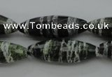 CSJ108 15.5 inches 10*30mm faceted rice green silver line jasper beads