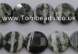 CSJ120 15.5 inches 15mm faceted coin green silver line jasper beads