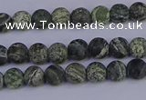 CSJ500 15.5 inches 4mm round matte green silver line jasper beads