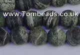 CSJ503 15.5 inches 10mm round matte green silver line jasper beads