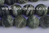 CSJ504 15.5 inches 12mm round matte green silver line jasper beads