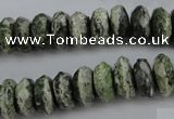CSJ96 15.5 inches 6*12mm faceted rondelle green silver line jasper beads