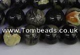 CSL214 15.5 inches 12mm round black silver leaf jasper beads