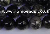 CSL215 15.5 inches 14mm round black silver leaf jasper beads