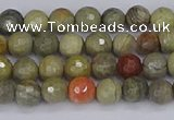 CSL230 15.5 inches 4mm faceted round silver leaf jasper beads