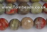 CSL234 15.5 inches 12mm faceted round silver leaf jasper beads
