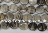 CSL27 15.5 inches 10mm flat round silver leaf jasper beads wholesale