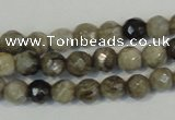 CSL90 15.5 inches 4mm faceted round silver leaf jasper beads wholesale