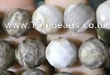 CSL93 15.5 inches 8mm faceted round sliver leaf jasper beads