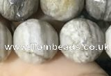 CSL96 15.5 inches 14mm faceted round sliver leaf jasper beads