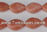 CSM25 15.5 inches 13*18mm twisted teardrop salmon stone beads wholesale