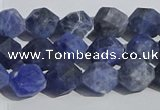 CSO566 15.5 inches 8mm faceted nuggets matte sodalite beads