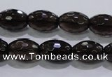 CSQ113 12*16mm faceted rice grade AA natural smoky quartz beads