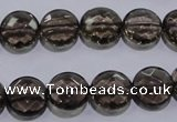 CSQ124 12mm faceted flat round grade AA natural smoky quartz beads