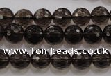 CSQ131 15.5 inches 10mm faceted round grade AA natural smoky quartz beads