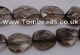 CSQ233 13*16mm faceted freeform grade AA natural smoky quartz beads