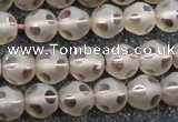 CSQ503 15.5 inches 10mm faceted round matte smoky quartz beads