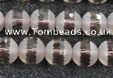 CSQ509 15.5 inches 12mm faceted round matte smoky quartz beads