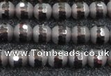 CSQ511 15.5 inches 6mm faceted round matte smoky quartz beads