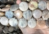 CSS421 15.5 inches 25mm flat round sunstone beads wholesale