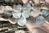 CSS440 15.5 inches 25mm twisted coin sunstone beads wholesale