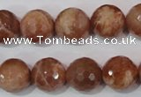 CSS508 15.5 inches 14mm faceted round natural golden sunstone beads
