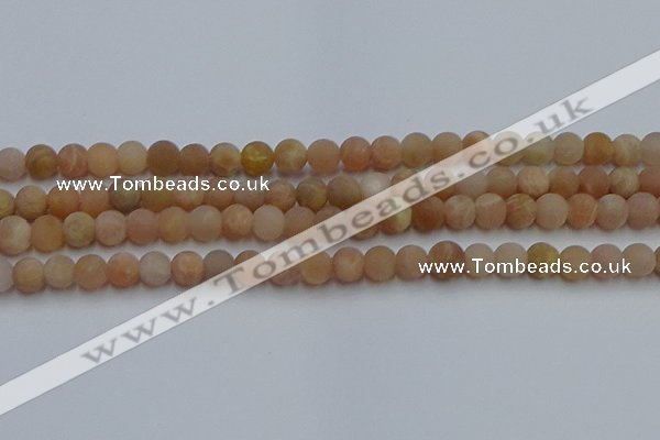 CSS651 15.5 inches 6mm round matte sunstone beads wholesale