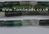 CTB315 15.5 inches 4*13mm tube moss agate beads wholesale