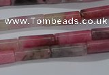 CTB346 15.5 inches 4*13mm tube pink wooden jasper beads wholesale