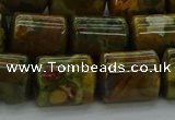 CTB530 15.5 inches 10*13mm triangle rhyolite beads wholesale