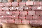 CTB616 15.5 inches 11*16mm - 12*18mm faceted tube rose quartz beads