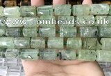 CTB621 11*16mm - 12*18mm faceted tube green rutilated quartz beads