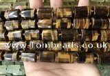 CTB624 15.5 inches 11*16mm - 12*18mm faceted tube yellow tiger eye beads