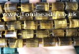 CTB657 15.5 inches 12*16mm faceted tube yellow tiger eye beads