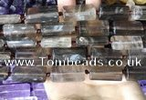CTB672 14*27mm - 15*28mm faceted flat tube smoky quartz beads